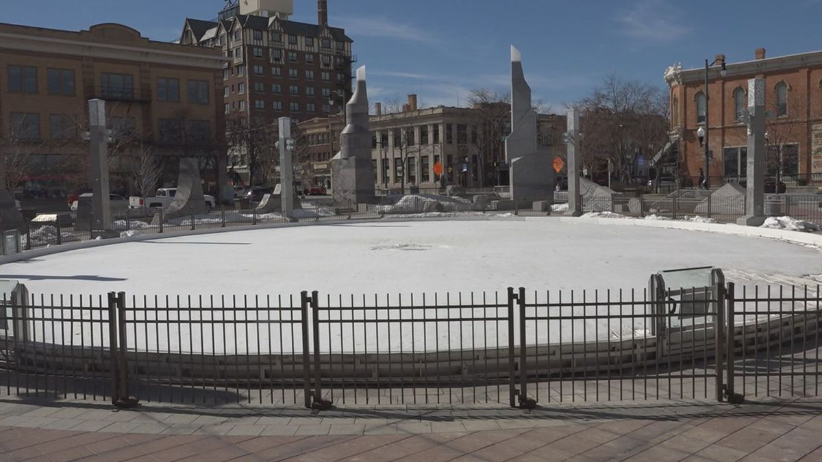 The ice rink at Main Street Square is closed for the season.<br />(KOTA)