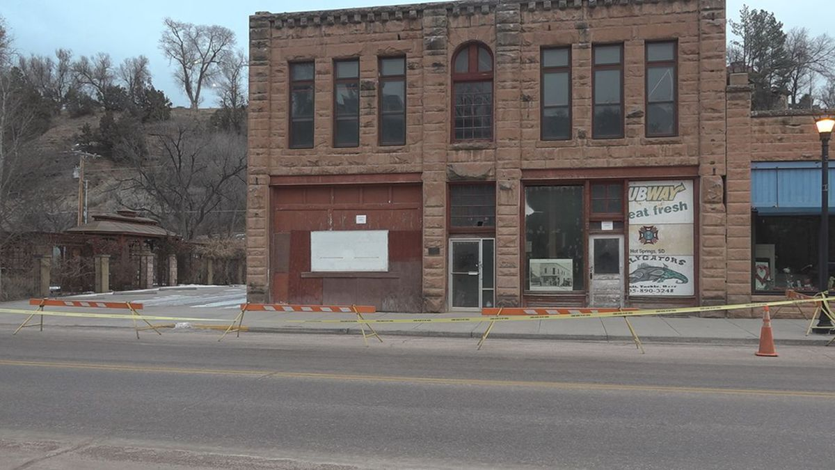 Barricades and tape surround a historic building in Hot Springs.<br />(KOTA)