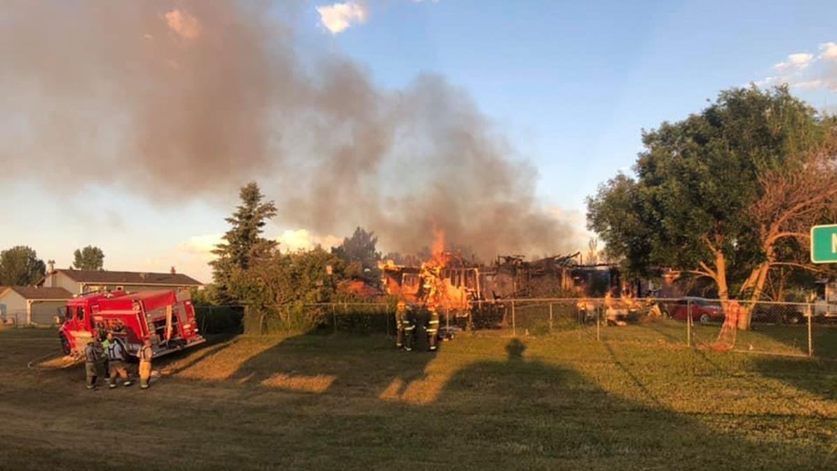 This home on the 800 block of Virginia Lane in unincorporated Meade County was destroyed in an early morning fire July 5. (photo courtesy Pennington County Fire)