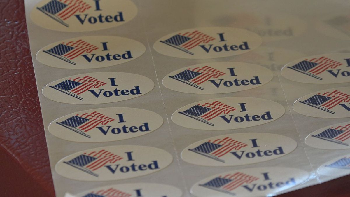Stickers at the Pennington County Auditor's Office in Rapid City.
