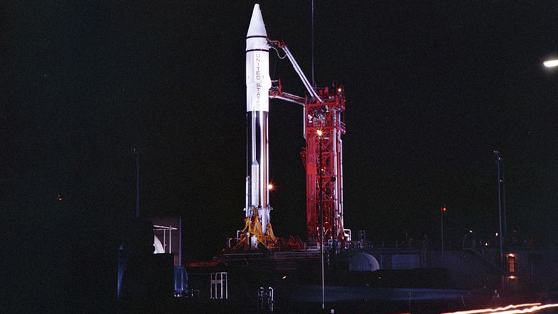 FILE - This Sept. 20, 1966 photo provided by the San Diego Air and Space Museum shows an Atlas...