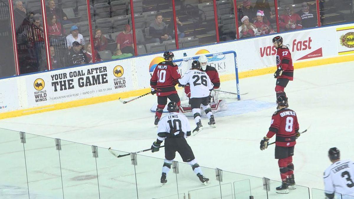 The Rush players playing hockey.