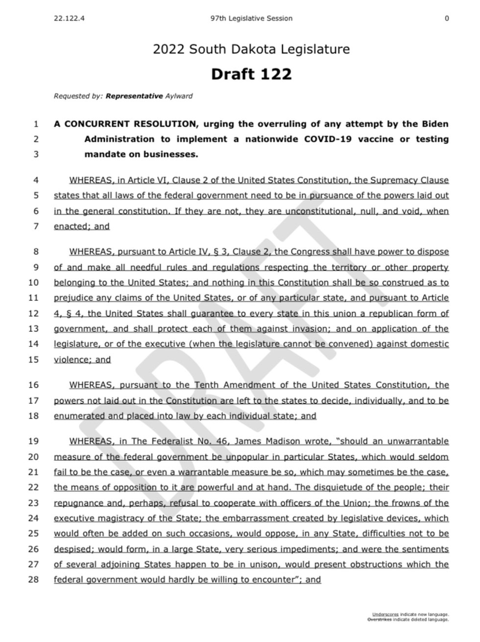 The South Dakota State Legislature has proposed a resolution that they intend to bring during...