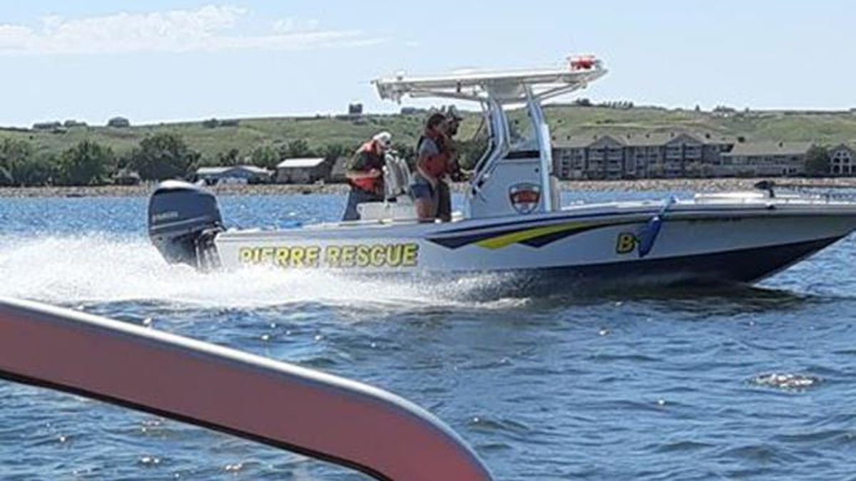 A Pierre rescue boat searches for a man presumed to have drowned in the Missouri River Saturday. (Photo Courtesy Nick Linneman)