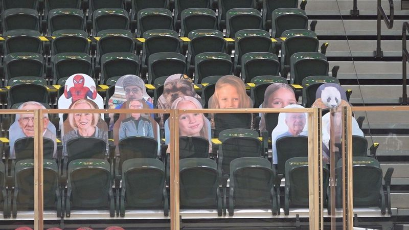 Cutouts replaces college hoops fans.