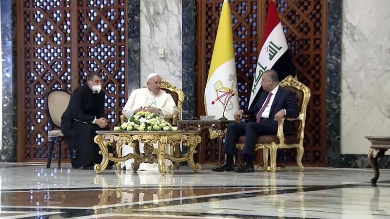 Pope Francis and Iraqi Prime Minister Mustafa Al-Kadhimi meet at Baghdad International Airport...