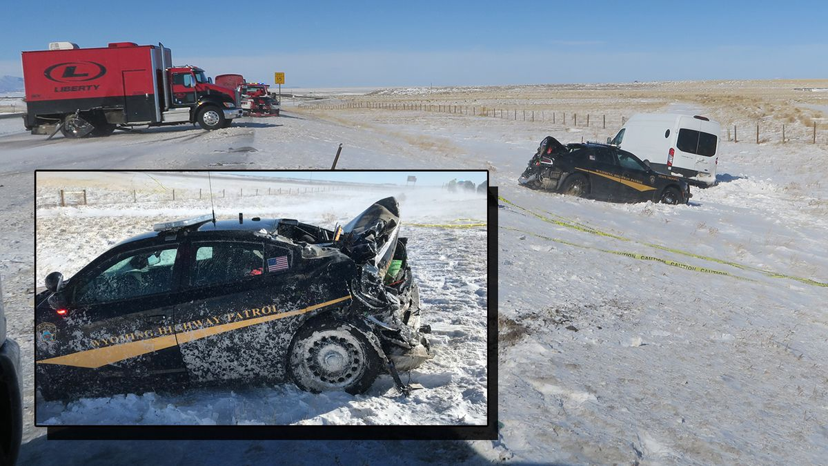 A Wyoming Highway Patrol trooper was injured when her cruiser was hit on Interstate 25. (photos courtesy Wyoming Highway Patrol)