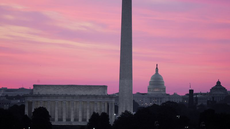 The skyline of Washington, D.C., including the Washington Monument, the Lincoln Memorial and...