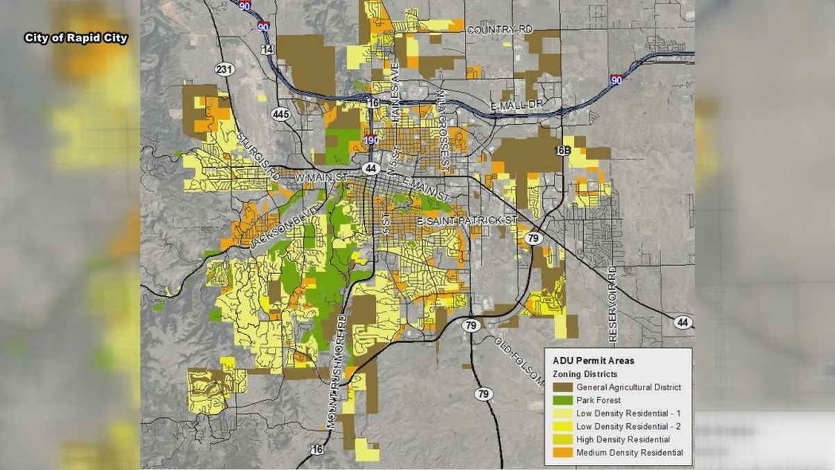 Permitted ADU areas in Rapid City.