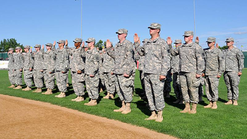 File photo of a platoon of South Dakota National Guard troops in formation.