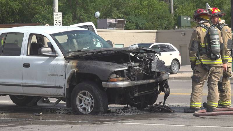 The owner of a white Dodge Dakota was driving west on W. Main Street when he heard a popping...