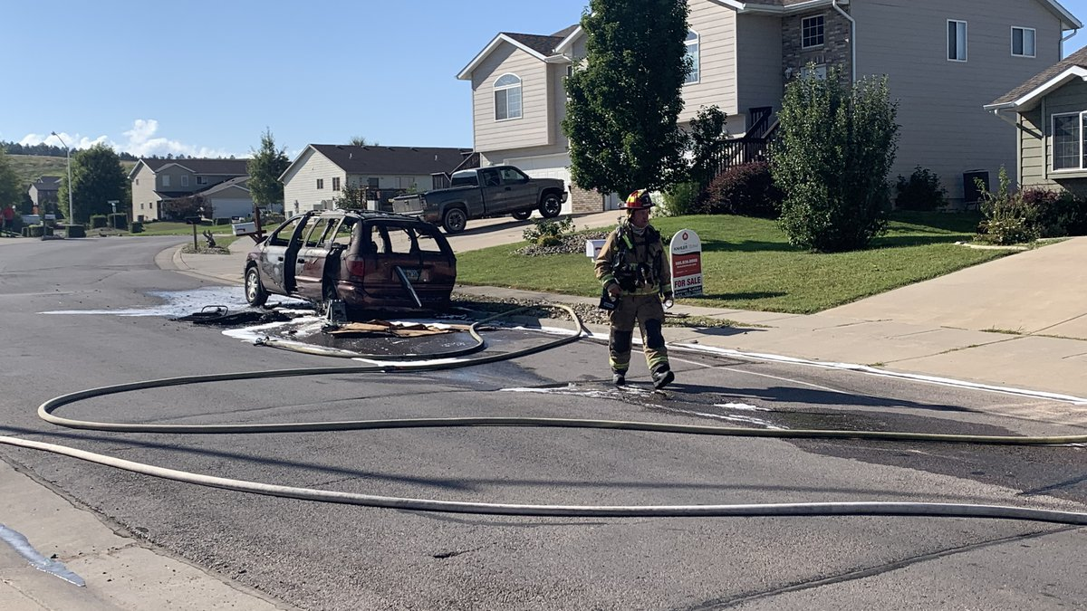Crews were called to the scene to put out a car fire.