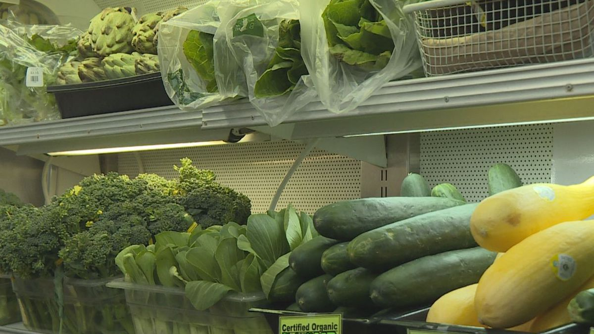 Organic produce at Breadroots Natural Food Co-Op.