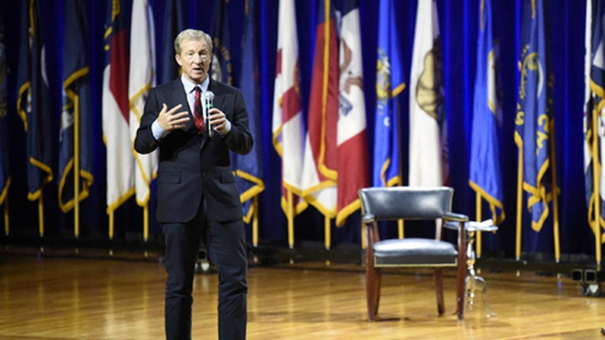Democratic presidential candidate Tom Steyer addresses an environmental justice forum on...