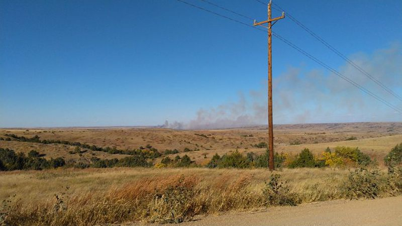 A fire on the north side of the Cheyenne River near Pedro, SD is burning.