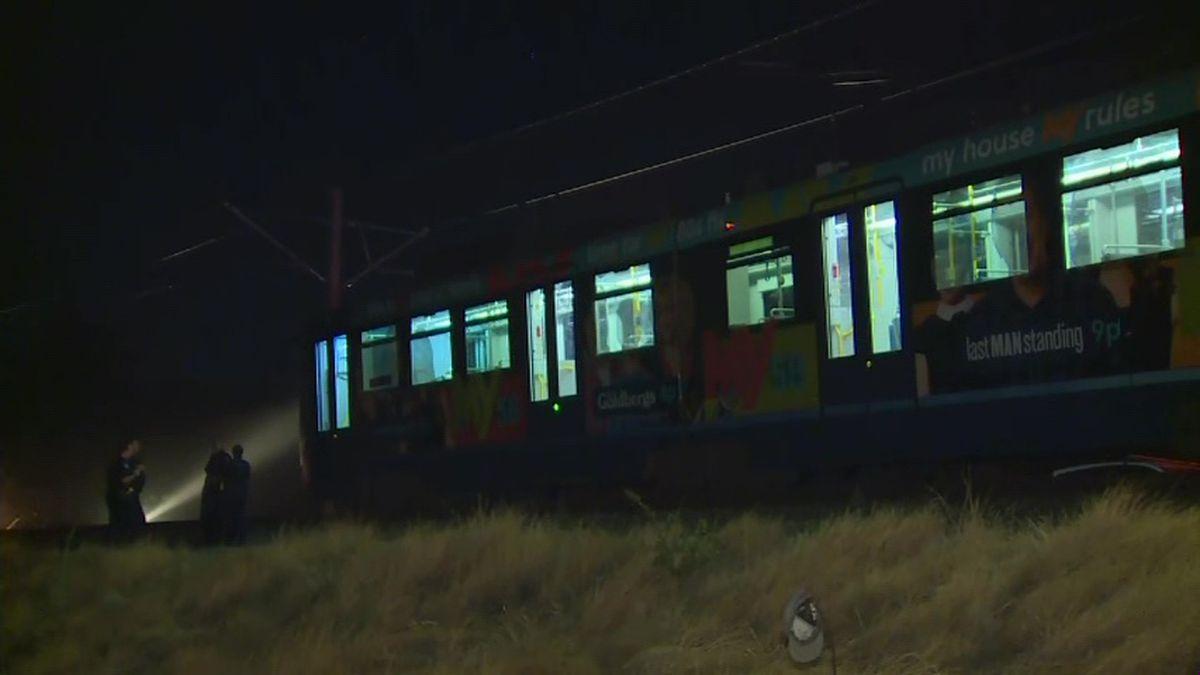 Over two dozen people were hurt when a commuter train derailed in California Thursday night. (Source: KOVR/CNN)