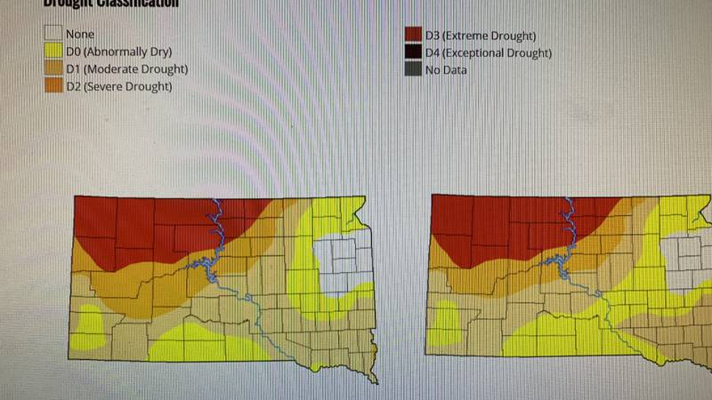 The Western parts of South Dakota vs. the Eastern parts, just a few weeks ago